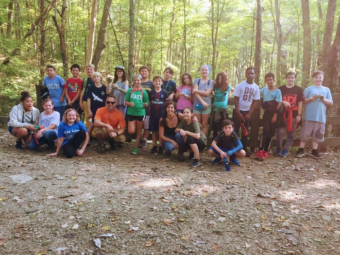 Ms. Amin's 6th grade class after a long hike