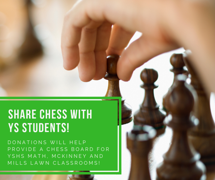 Ms. Holley's class is collecting donations of chess pieces or monetary donations to donate a chess board to math, McKinney, and Mills Lawn classrooms.