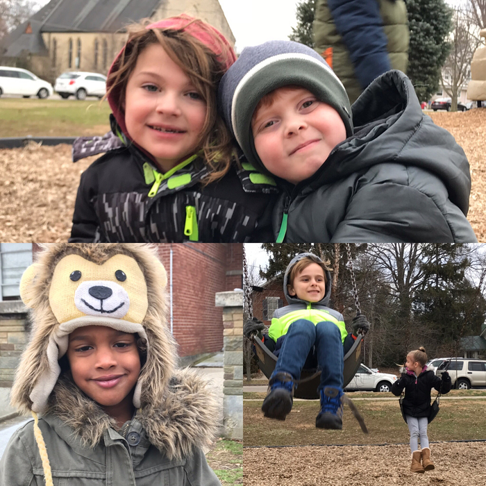 Kindergartners enjoyed outdoor recess at Mills Lawn today.