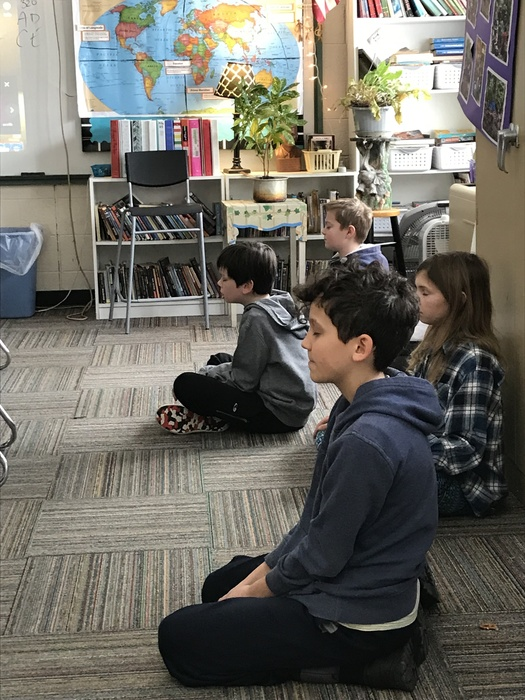 Students in Mrs. Pettiford's class are learning about ancient India through actual meditation practice.