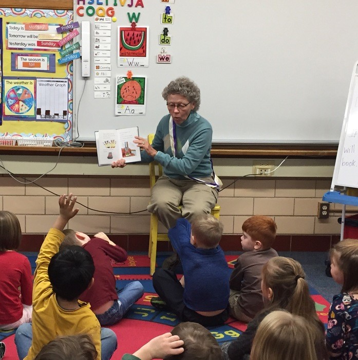 "Mayor Pam Conine reads to kindergarten classes as we begin our ""Happy Hearts"" project."