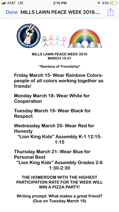 Peace Week starts March 15 at Mills Lawn.