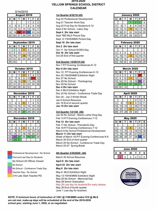 The 2019-2020 school year calendar.