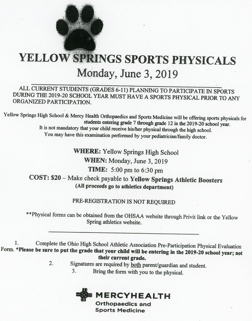 Sports Physical Flyer