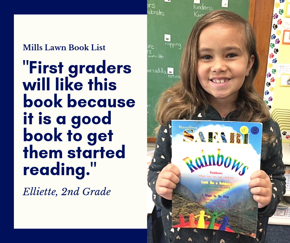 Second grader Elliette holds her #MillsLawnBookList recommendation, Safari Rainbows
