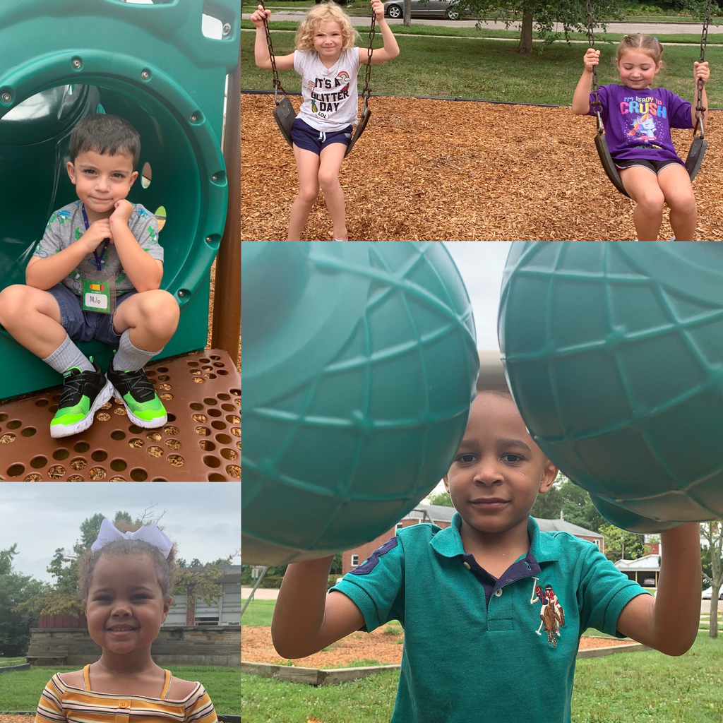 Kindergarten students enjoyed outdoor recess on their first day of school.