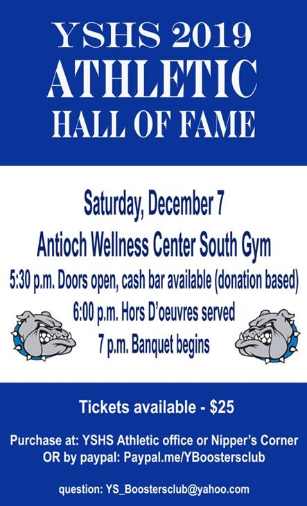 Come out on Saturday, December 7 to celebrate the 2019 Yellow Springs Athletic Hall of Fame inductees! Stay tuned for the list of this year's honorees coming next week! #FearlessThinkers #GoBulldogs
