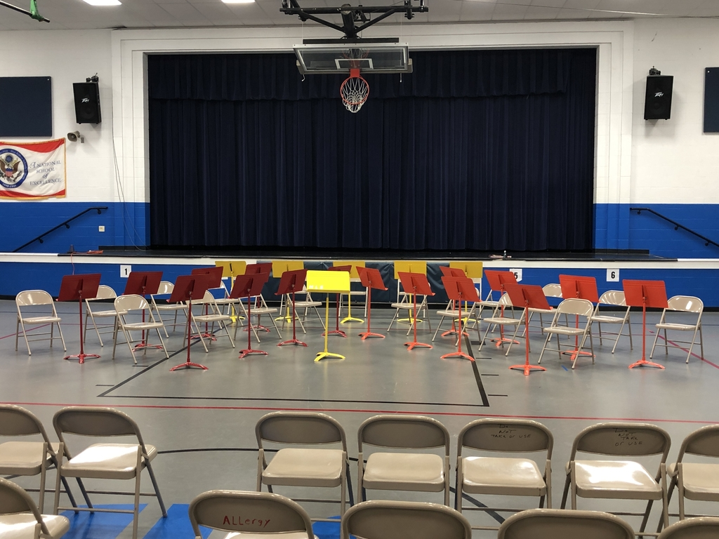 5th grade music stands ready to go for tonight's concert.