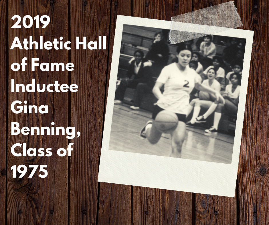 Gina Benning, Class of 1975, a multi-sport athlete competing in volleyball, basketball,softball and track who competed in the first ever OHSAA State Girls Track Meet,will be inducted in the 2019 Class of the Yellow Springs Hall of Fame.