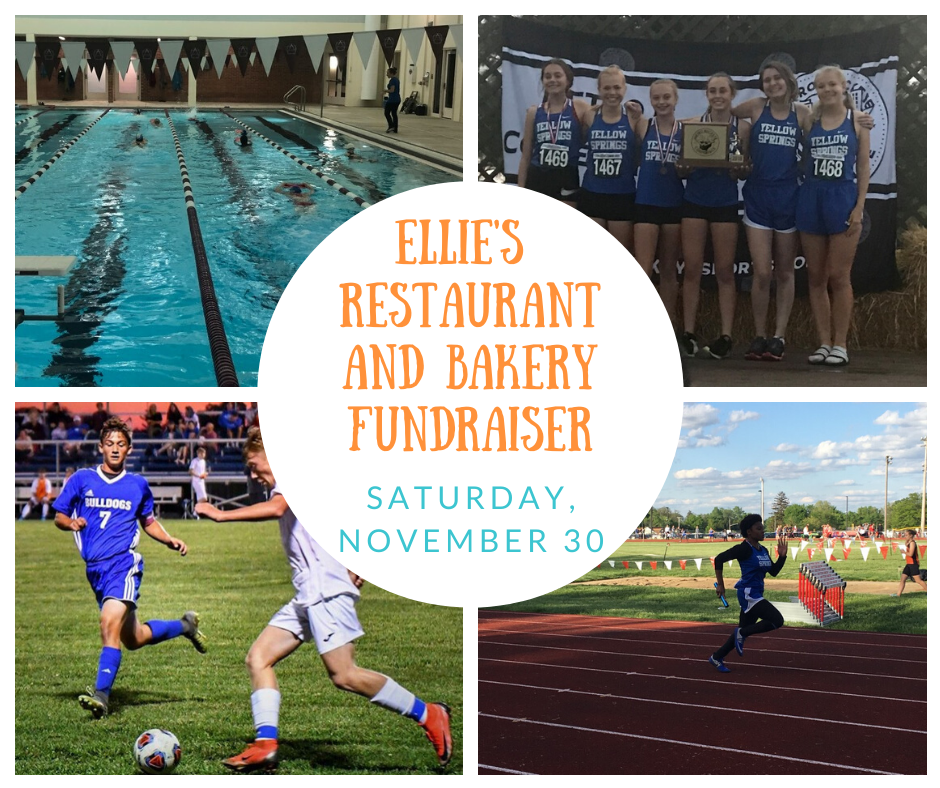 Stop by Ellie's Restaurant and Bakery this Saturday, November 30, to support Yellow Springs Athletics! Ten percent of proceeds will be donated to YSHS Boosters. Thanks to Ellie's for supporting our student athletes! #FearlessThinkers