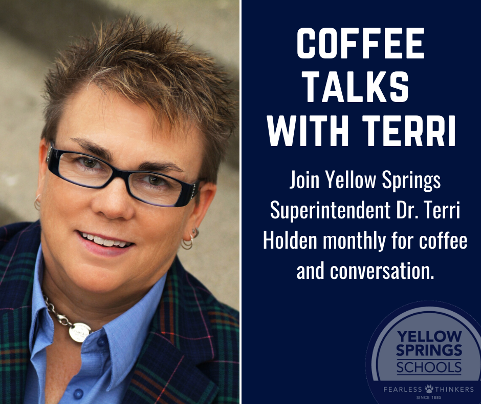 Join Superintendent Dr. Terri Holden for the second Coffee Talk with Terri from 8:30-9:30 a.m. on Wednesday, Dec. 11, at Ellie's Restaurant and Bakery! http://ow.ly/I0yK50xt6bP #FearlessThinkers