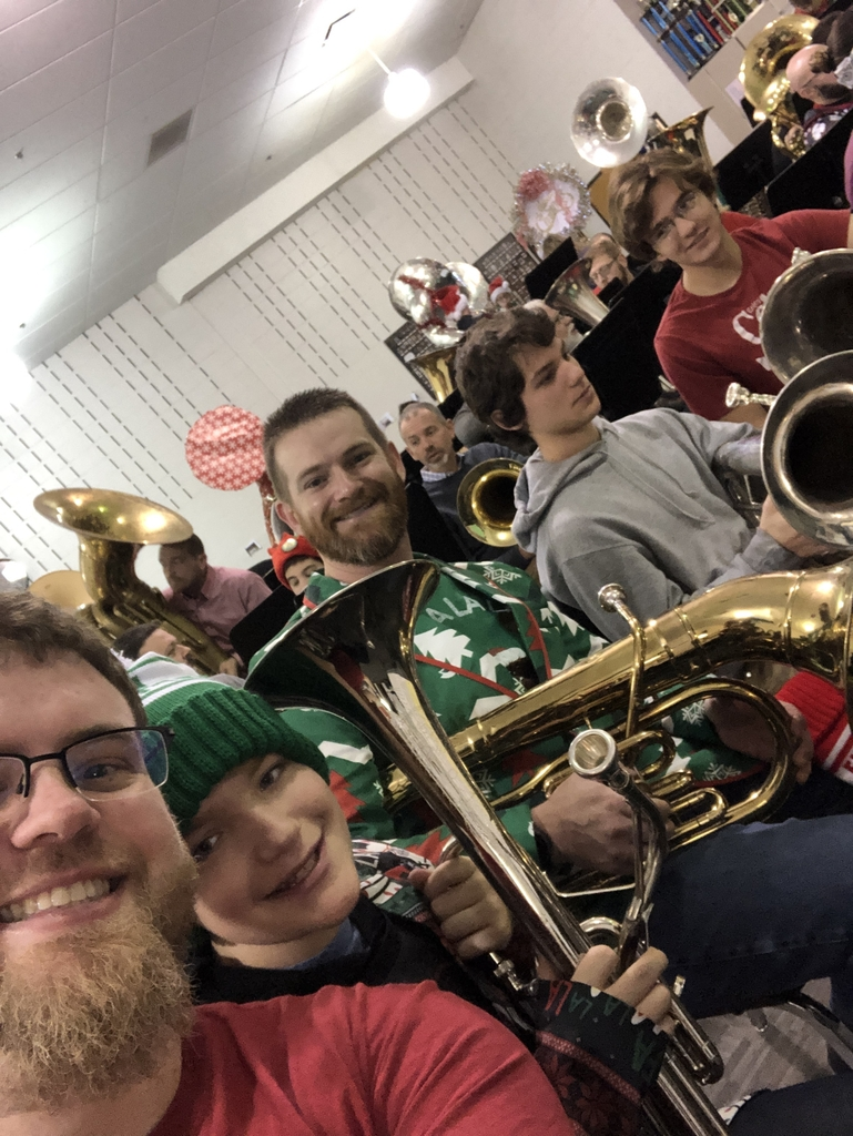 Rehearsal at Beavercreek HS for Tuba Christmas Dayton. Left to right Mr. Mayer, Luke Wilson(Shawnee), Adam Wilson(Springfield), Jay Milman(Yellow Springs), Sam Nielsen(Yellow Springs)