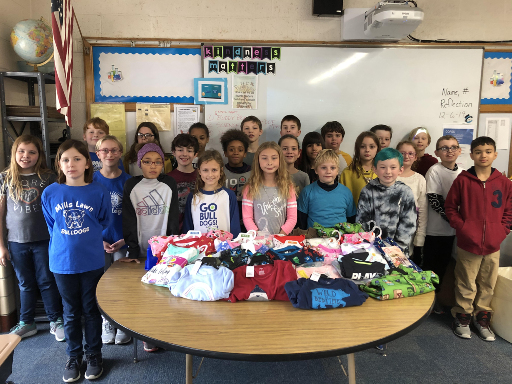 "Mrs. Hitchcock's 4th grade #FearlessThinkers donated 32 pairs of PJs to Xenia Community School. The PJs will be paired with a book from Scholastic and gifted to a student as part of the class's ""Paying it Forward with Kindness"" PBL project."
