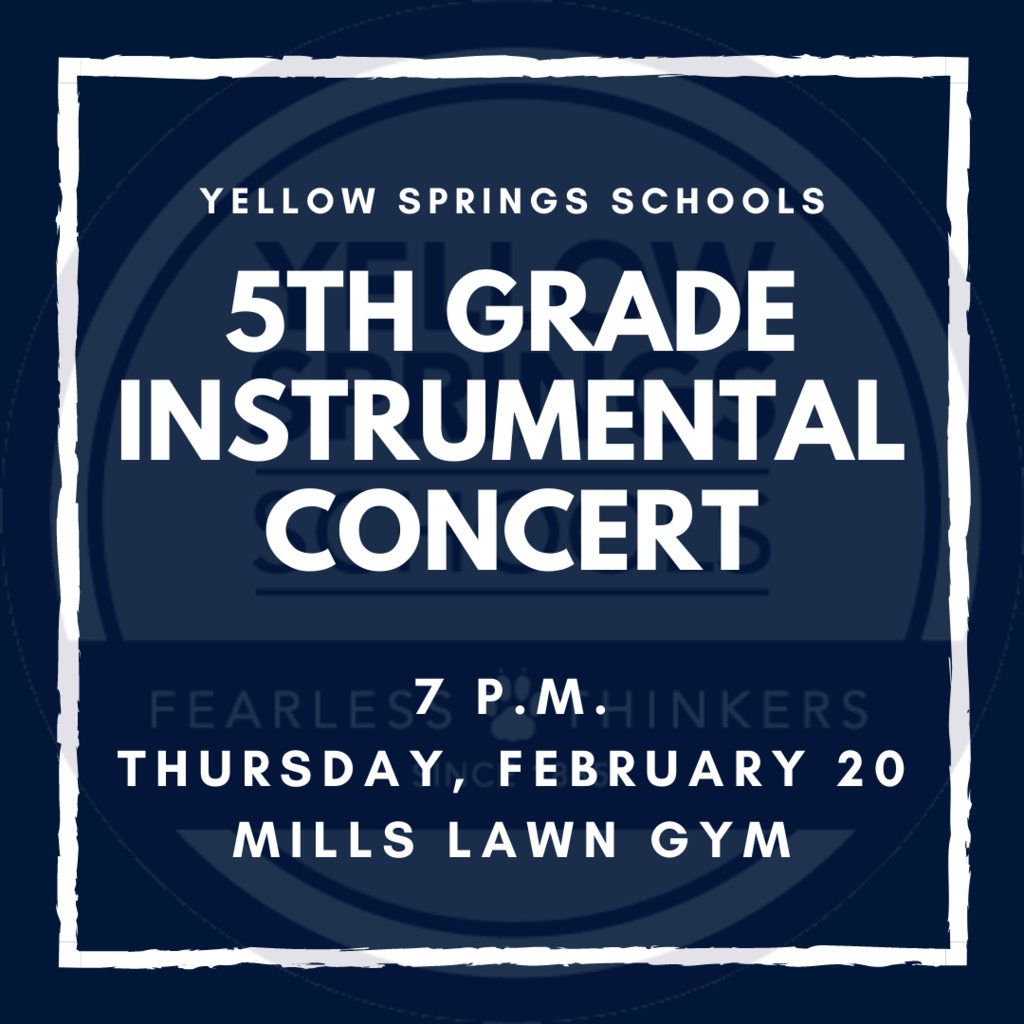Join Mills Lawn 5th Graders for an instrumental concert this Thursday, February 20, in the Mills Lawn Gym. #FearlessThinkers #YSBulldogs