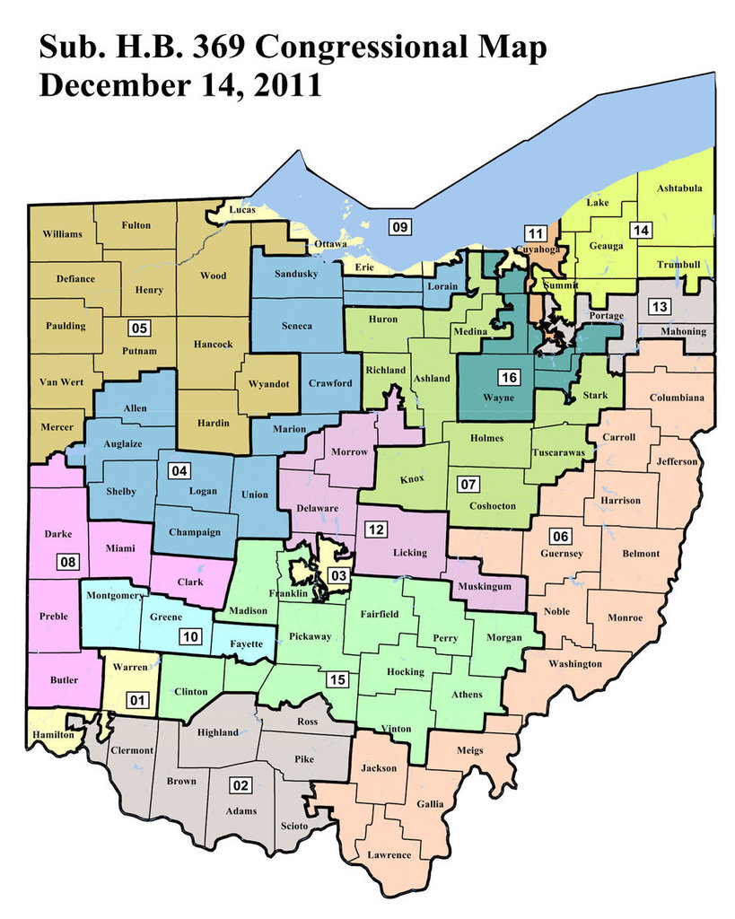 Ohio's current Gerrymandered Congressional Districts.